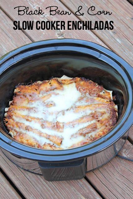 Slow Cooker Black Bean Corn Enchiladas Recipe