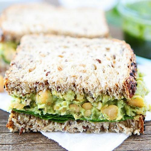 Smashed Chickpea, Avocado, And Pesto Salad Sandwich
