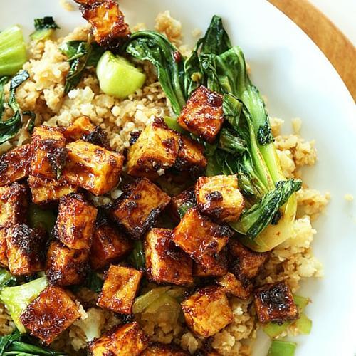Crispy Peanut Tofu And Cauliflower Rice Stir Fry