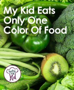 My Kid Eats Only One Color Of Food - Does your little one eat only one color of food? Does he only eat red foods or beige foods? Here are some solutions that will help get your kid to eat more than just the color green! Check it out and pin away!