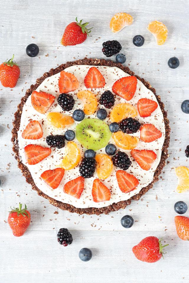 Healthy No Bake Chocolate Fruit Pizza Recipe