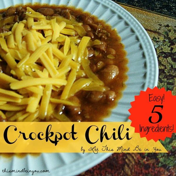 Easy 5 Ingredient Crock Pot Chili