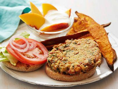 Bean Kale Burgers with Sweet Potato Wedges Recipe