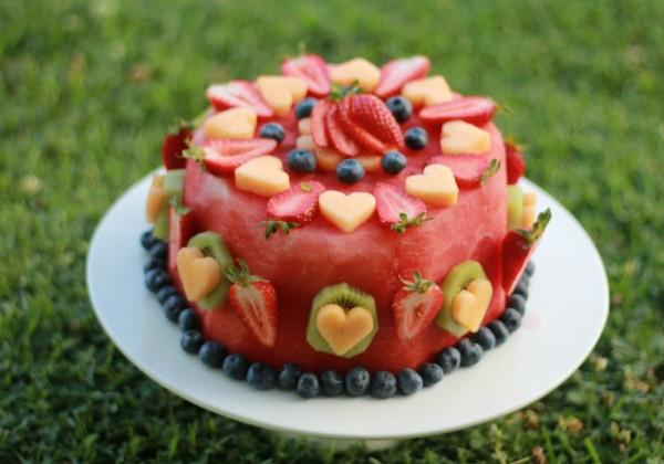 Fresh fruit birthday cake recipe.