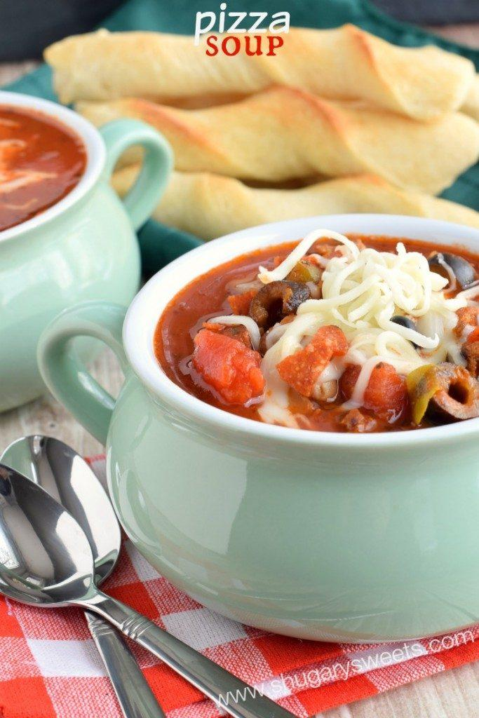 Fun Crock Pot Dinner Ideas- Pizza Soup