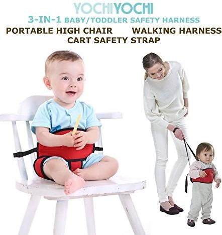 Portable High Chair + Toddler Safety Harness + Shopping Cart Safety Strap