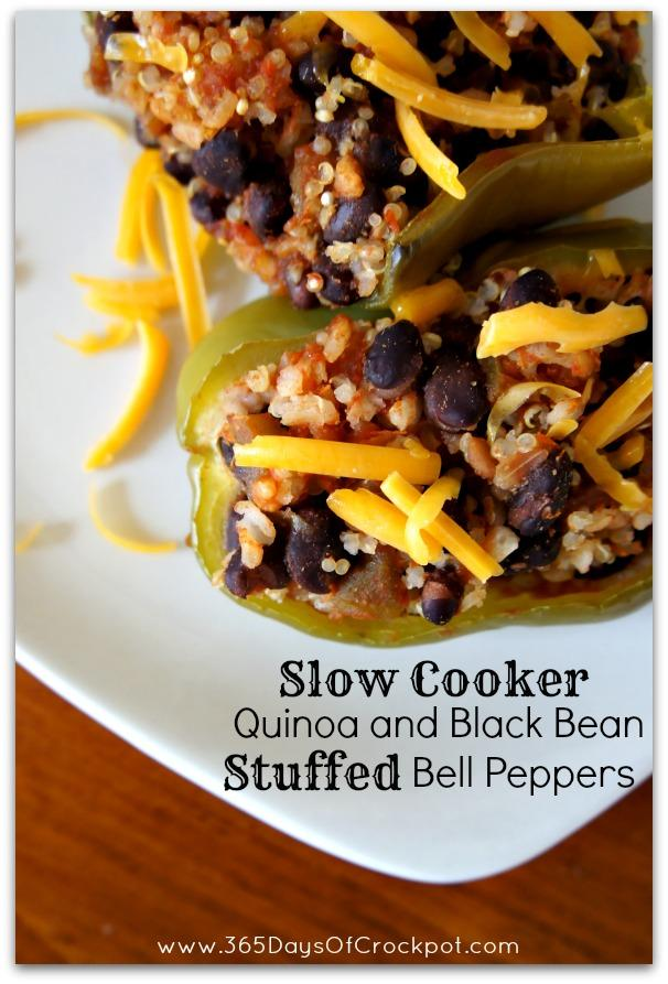 Slow Cooker Quinoa And Black Bean Stuffed Peppers Recipe