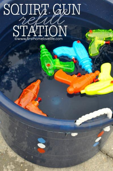 BBQ Party Ideas fro Kids-Squirt Gun Station