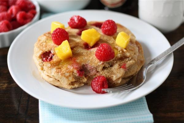 Whole Wheat Raspberry and Mango Pancakes Recipe