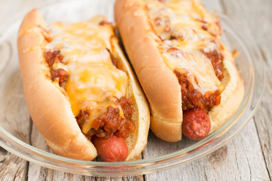 Recipe for Chili Cheese Dogs in the Slow Cooker