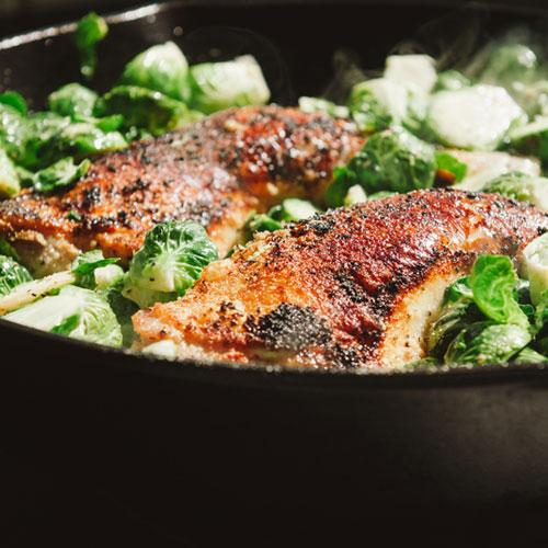 One Pan Crispy Chicken Legs And Brussels Sprouts