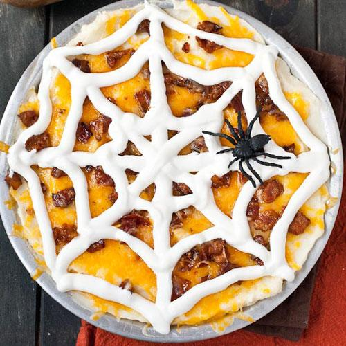 Halloween Food Ideas. Loaded Mashed Potato Spider Web Casserole