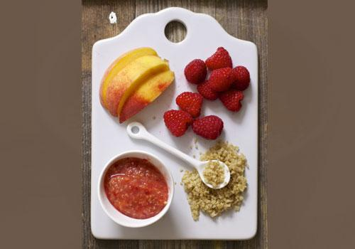 Peach, Raspberry And Quinoa Chunky Puree