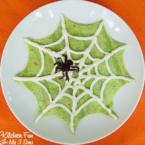 Halloween Spider Web Quesadilla Dinner