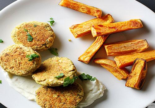 Baked Chickpea Patties with Yogurt Sauce And Sweet Potato Oven Fries