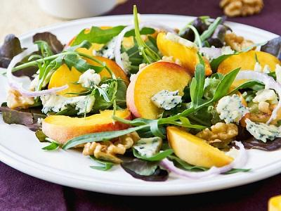 Rosh Hashanah- Arugula Salad with Honey Drizzled Peaches