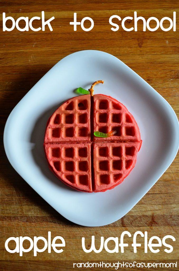First Day of School Breakfast Ideas- Back to School Apple Waffles. These are so fun and great for the 1st day or school.