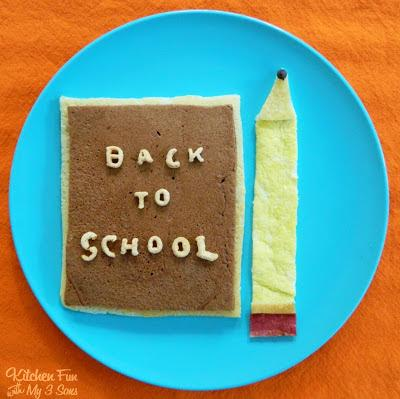 First Day of School Breakfast Ideas- Back to School Pancakes and Egg Pencil Breakfast. A super cute idea! Will get your kids excited for the 1st day of classes.