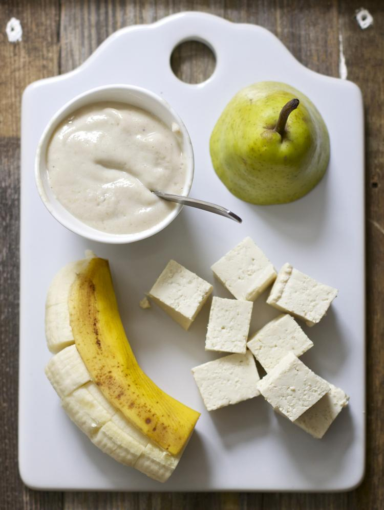 Homemade Baby Food Puree- Banana Tofu ad Pear