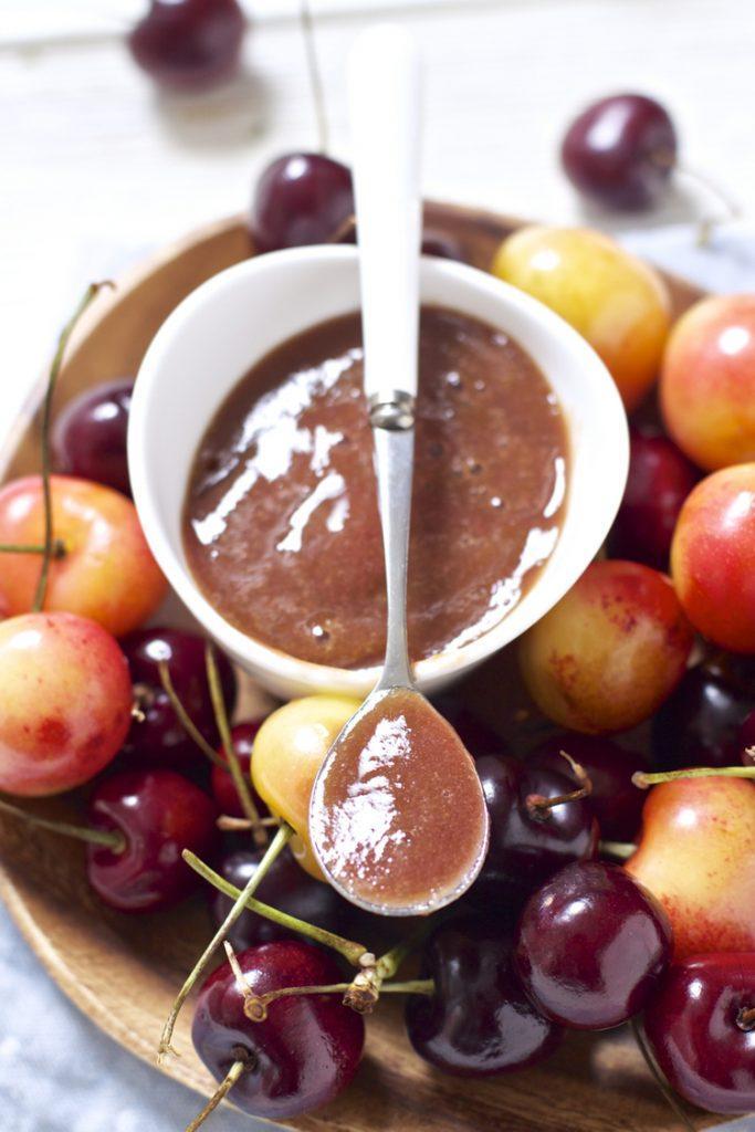 Homemade Baby Food Puree-Cherry Basil Puree