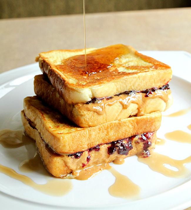 First Day of School Breakfast Ideas- Peanut Butter & Jelly French Toast. A super fun twist to a school lunch classic!