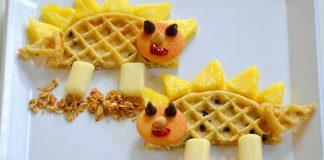 First Day of School Breakfast Ideas- Wafflesaurus. Send your kids to school with this roaring good breakfast!