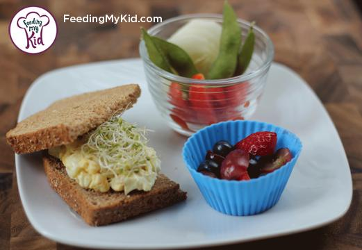 Back to School Lunch Ideas- Easy Egg Salad and Sprouts Sandwich. This super easy egg salad takes seconds to prepare. Topped with alfalfa sprouts for a fun twist.
