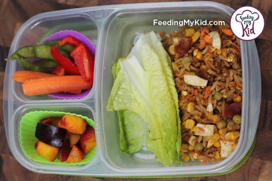 Back to School Lunch Ideas- Fried Rice Lettuce Wraps. So easy. A great way to use leftover rice for a fun asian inspired lunch!