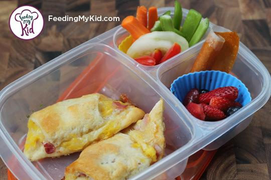 Back to School Lunch Ideas- Ham and Cheese Crescents. These Hawaiian inspired crescents can be baked in bulk and frozen.