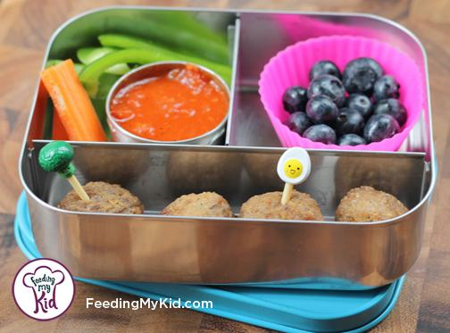 Back to School Lunch Ideas- Meatball Dippers. A side of marinara sauce makes this a super fun lunch!