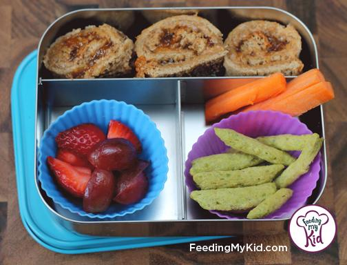 Back to School Lunch Ideas- Nut Butter and Jelly Roll Ups. A super fun take on a lunch time staple. We used almond butter and apricot preserves for a fun twist!