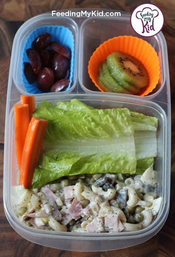 Back to School Lunch Ideas- Creamy Ham and Pea Pasta Salad. Delicious and easy to make ahead. This is such a unique pasta salad jammed pack with all sorts of delicious ingredients.