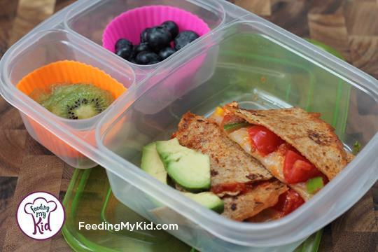 Back to School Lunch Ideas- Veggie Pizza Quesadillas. So easy to customize! These can be filled with your child's favorite pizza toppings!
