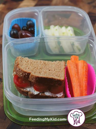 Back to School Lunch Ideas- Tomato and Cream Cheese Sandwich. A great lunch idea! You can top almost any veggie with cream cheese and the kids will love it!