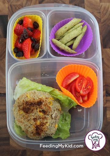 Back to School Lunch Ideas- Tuna Patty Lettuce Wrap-Your kids can eat the tuna patty on its own, or wrap it like a burger in the lettuce!