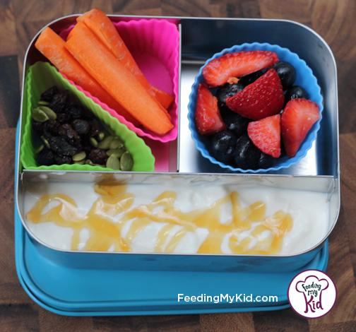 Back to School Lunch Ideas- Yogurt Parfait. SO fun! Pack this with your child's favorite yogurt flavor and fruit and let them go wild!