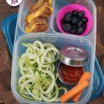 Back to School Lunch Ideas- Zucchini Noodles and Grilled Cheese. I've been obsessed with my spiralizer lately and this is such a fun lunch idea! A great alternative to regular pasta.