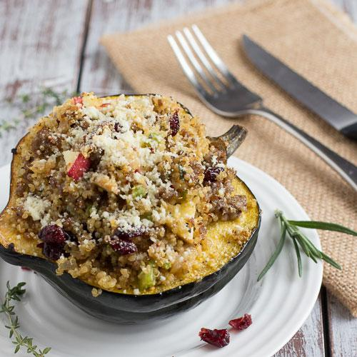 Acorn Squash Recipes-Sausage And Quinoa Stuffed Acorn Squash