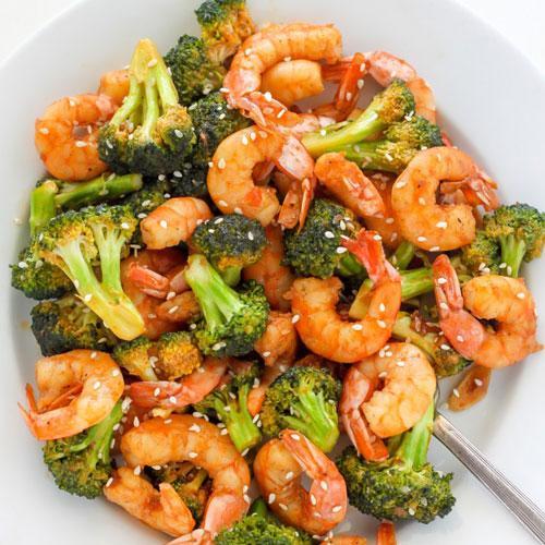 Skinny Sriracha Shrimp And Broccoli