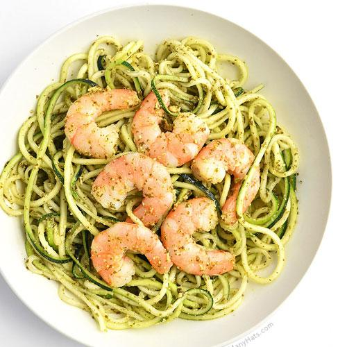 Shrimp And Pesto Zoodles Recipe