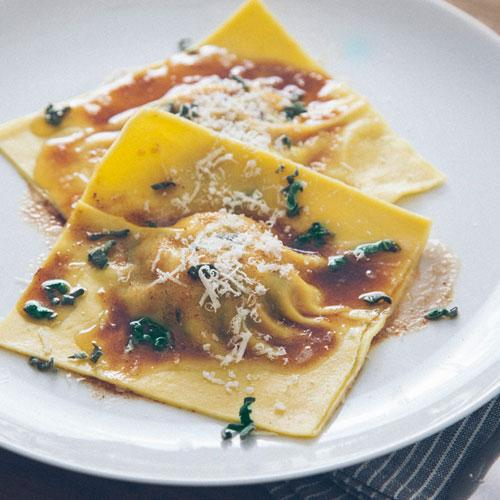 Butternut Squash And Swiss Chard Ravioli With Sage Brown Butter Sauce