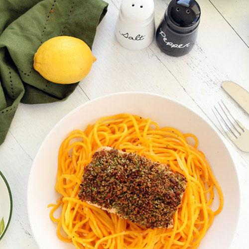 Broccoli Breadcrumb Baked Salmon With Butternut Squash Noodles