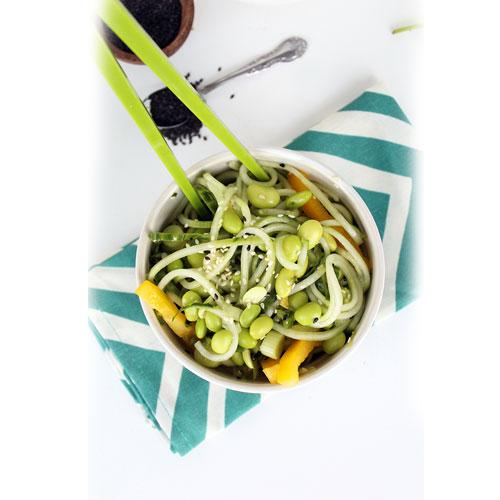 Sesame Ginger Cucumber Salad with Mint and Edamame