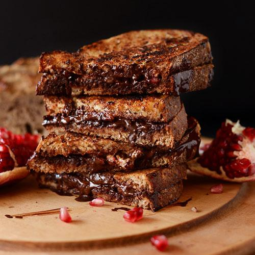 Grilled Almond Butter, Dark Chocolate And Pomegranate Sandwich