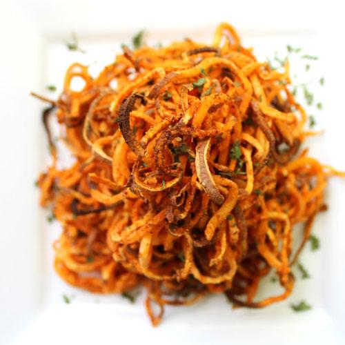 Spicy Spiralized Sweet Potato Fries