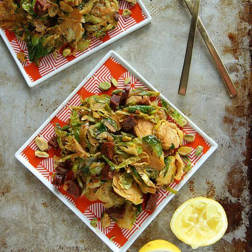 Shredded Brussels Sprouts With Chorizo And Paprika