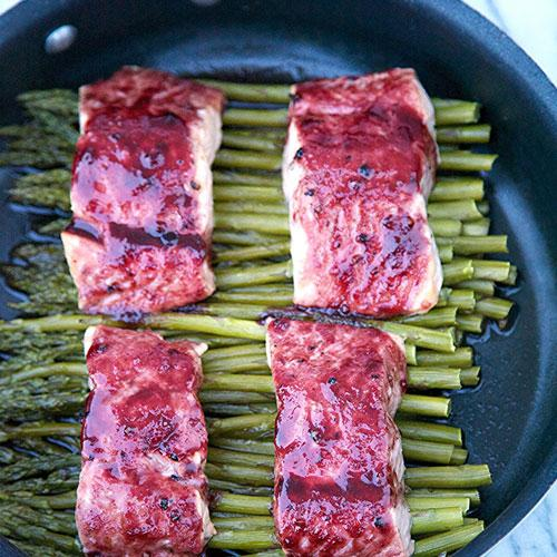 One Pot Wonder Blackberry Glazed Salmon And Asparagus