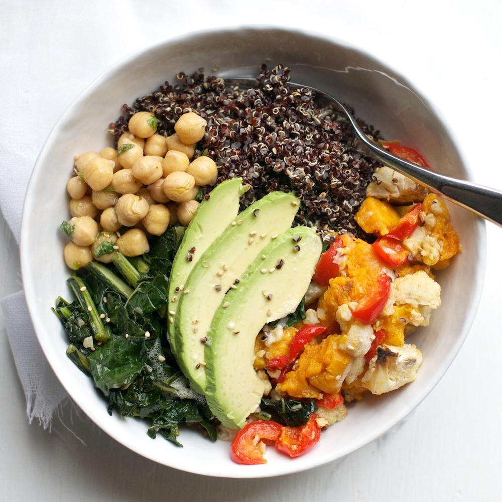 Black Quinoa Roasted Vegetable Bowl