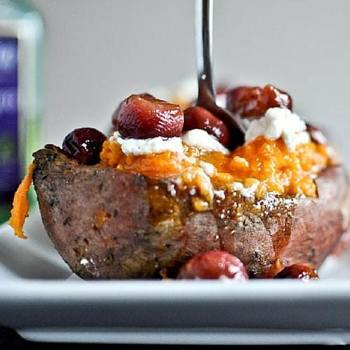 Roasted Grape And Honey Sweet Potatoes