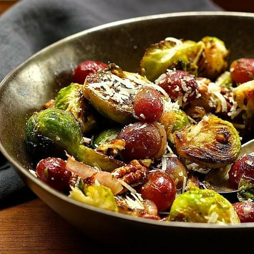 Brussels Sprouts With Roasted Grapes, Pecans, and Pecorino